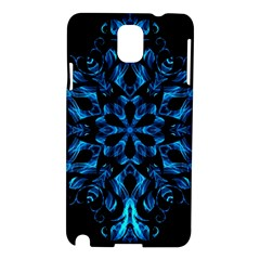 Blue Snowflake On Black Background Samsung Galaxy Note 3 N9005 Hardshell Case by Nexatart