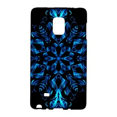 Blue Snowflake On Black Background Galaxy Note Edge by Nexatart