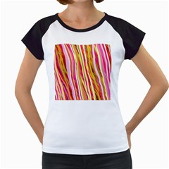 Color Ribbons Background Wallpaper Women s Cap Sleeve T