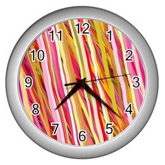 Color Ribbons Background Wallpaper Wall Clocks (silver)  by Nexatart