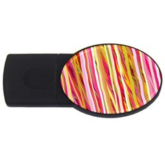 Color Ribbons Background Wallpaper Usb Flash Drive Oval (2 Gb)