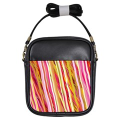 Color Ribbons Background Wallpaper Girls Sling Bags