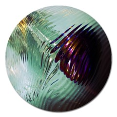 Out Of Time Glass Pearl Flowag Magnet 5  (round) by Nexatart