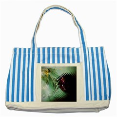 Out Of Time Glass Pearl Flowag Striped Blue Tote Bag by Nexatart