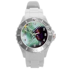 Out Of Time Glass Pearl Flowag Round Plastic Sport Watch (l) by Nexatart