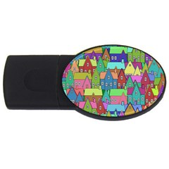 Neighborhood In Color Usb Flash Drive Oval (4 Gb) by Nexatart
