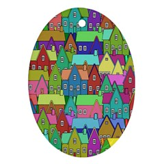 Neighborhood In Color Oval Ornament (two Sides) by Nexatart