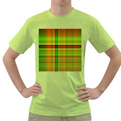 Multicoloured Background Pattern Green T Shirt