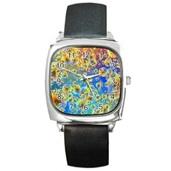 Color Particle Background Square Metal Watch