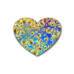 Color Particle Background Heart Coaster (4 Pack)