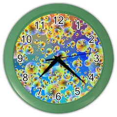 Color Particle Background Color Wall Clocks by Nexatart