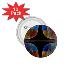 Black Cross With Color Map Fractal Image Of Black Cross With Color Map 1 75  Buttons (10 Pack)