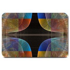 Black Cross With Color Map Fractal Image Of Black Cross With Color Map Large Doormat  by Nexatart