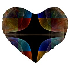 Black Cross With Color Map Fractal Image Of Black Cross With Color Map Large 19  Premium Heart Shape Cushions