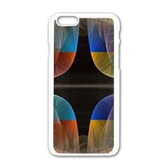 Black Cross With Color Map Fractal Image Of Black Cross With Color Map Apple Iphone 6/6s White Enamel Case