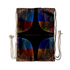 Black Cross With Color Map Fractal Image Of Black Cross With Color Map Drawstring Bag (small)