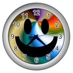 Simple Smiley In Color Wall Clocks (silver)  by Nexatart