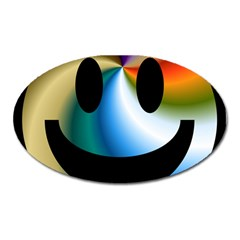 Simple Smiley In Color Oval Magnet