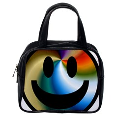 Simple Smiley In Color Classic Handbags (one Side)