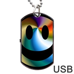 Simple Smiley In Color Dog Tag Usb Flash (two Sides) by Nexatart