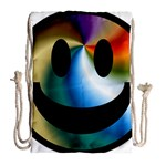 Simple Smiley In Color Drawstring Bag (Large) Back