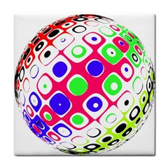 Color Ball Sphere With Color Dots Tile Coasters