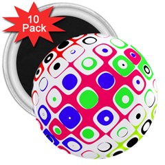 Color Ball Sphere With Color Dots 3  Magnets (10 Pack)  by Nexatart