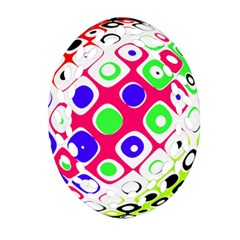 Color Ball Sphere With Color Dots Oval Filigree Ornament (two Sides) by Nexatart