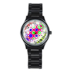 Color Ball Sphere With Color Dots Stainless Steel Round Watch by Nexatart