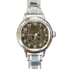 White Vintage Frame With Sepia Targets Round Italian Charm Watch by Nexatart