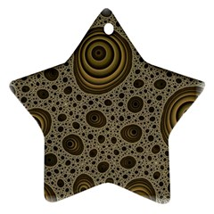 White Vintage Frame With Sepia Targets Ornament (star) by Nexatart