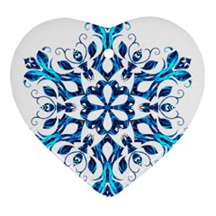 Blue Snowflake On Black Background Ornament (heart) by Nexatart
