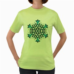 Blue Snowflake On Black Background Women s Green T Shirt