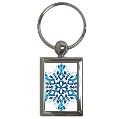 Blue Snowflake On Black Background Key Chains (rectangle)  by Nexatart