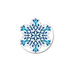 Blue Snowflake On Black Background Golf Ball Marker by Nexatart