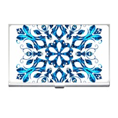 Blue Snowflake On Black Background Business Card Holders by Nexatart