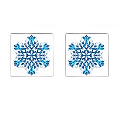 Blue Snowflake On Black Background Cufflinks (square) by Nexatart