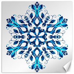 Blue Snowflake On Black Background Canvas 12  X 12