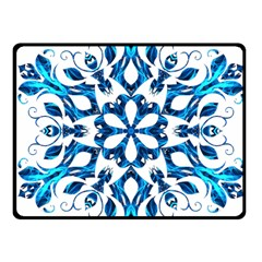 Blue Snowflake On Black Background Fleece Blanket (small) by Nexatart