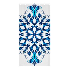 Blue Snowflake On Black Background Shower Curtain 36  X 72  (stall)  by Nexatart