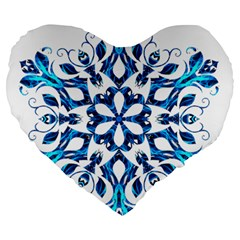 Blue Snowflake On Black Background Large 19  Premium Heart Shape Cushions