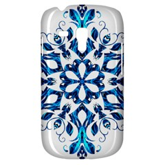 Blue Snowflake On Black Background Galaxy S3 Mini by Nexatart