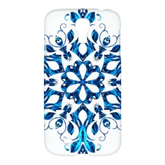 Blue Snowflake On Black Background Samsung Galaxy S4 I9500/i9505 Hardshell Case by Nexatart