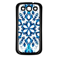 Blue Snowflake On Black Background Samsung Galaxy S3 Back Case (black) by Nexatart