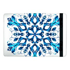 Blue Snowflake On Black Background Samsung Galaxy Tab Pro 10 1  Flip Case by Nexatart