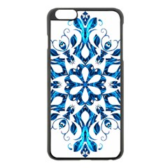 Blue Snowflake On Black Background Apple Iphone 6 Plus/6s Plus Black Enamel Case