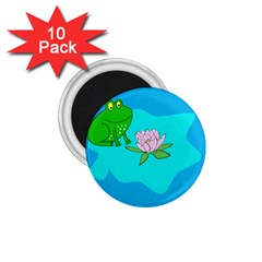 Frog Flower Lilypad Lily Pad Water 1 75  Magnets (10 Pack)