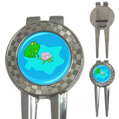 Frog Flower Lilypad Lily Pad Water 3 In 1 Golf Divots by Nexatart