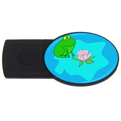 Frog Flower Lilypad Lily Pad Water Usb Flash Drive Oval (2 Gb) by Nexatart