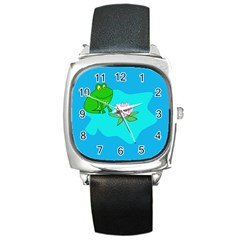 Frog Flower Lilypad Lily Pad Water Square Metal Watch by Nexatart